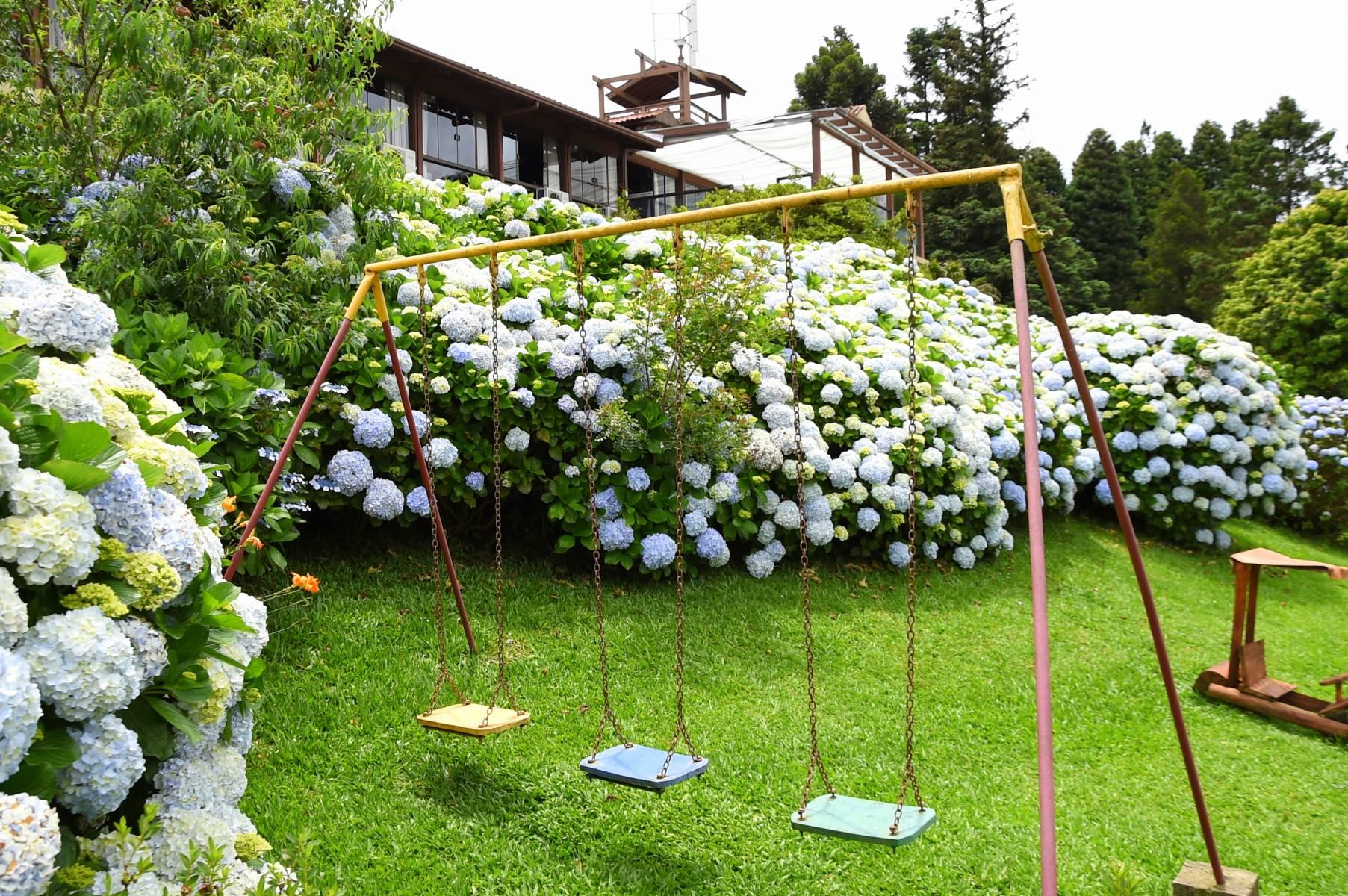 PlayGround com Hortênsias - Hotel Bangalôs da Serra #CurtaSuaFamilia #HotelSustentavel #TurismoVerde #TravelersChoice #EcoLider #Gramado