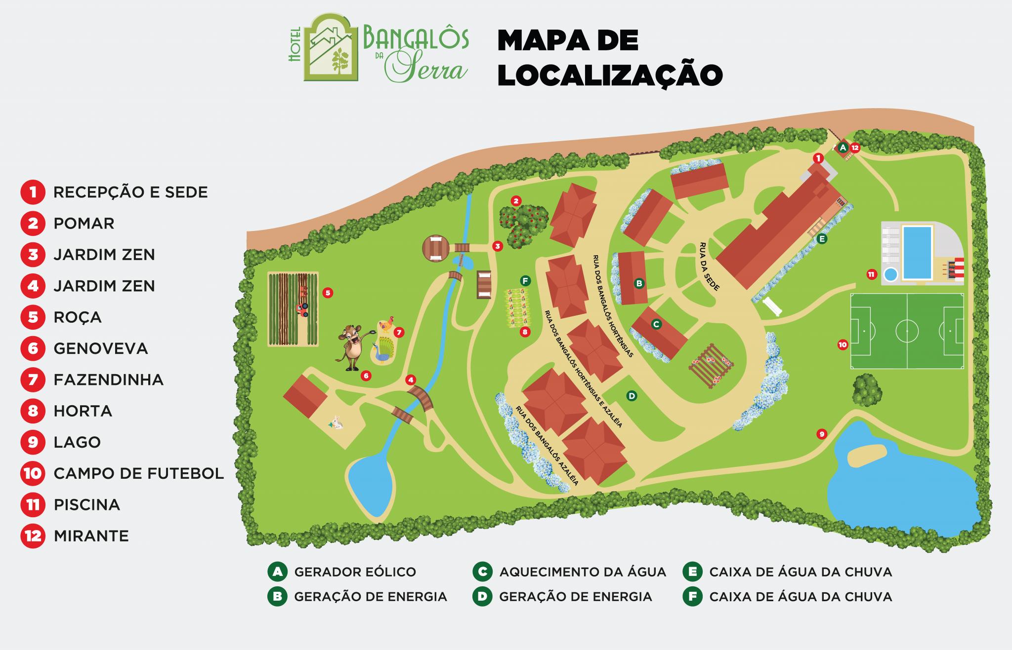 Mapa de Localização - Hotel Bangalôs da Serra em Gramado